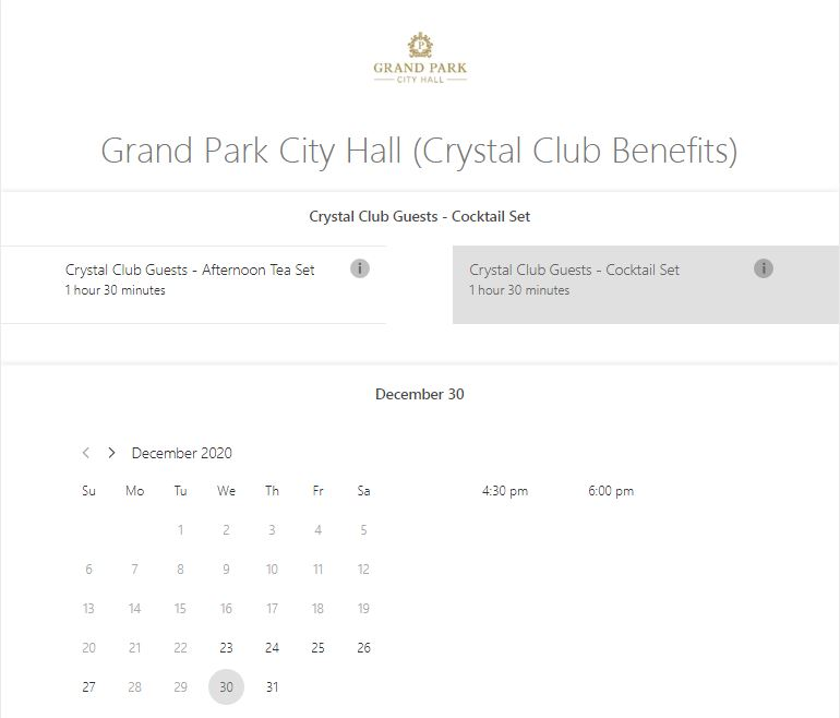 Crystal Club Benefits Booking