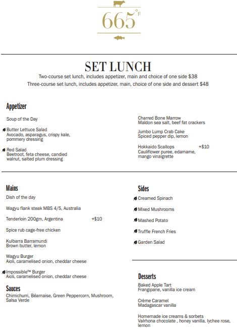 665 Set Lunch Menu