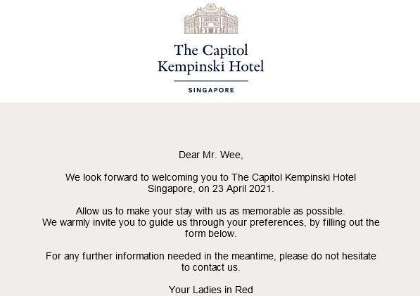 Kempinski Pre Arrival Email